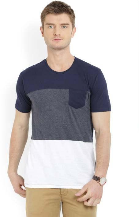 Highlander Solid Men's Round Neck Blue, Grey T-Shirt