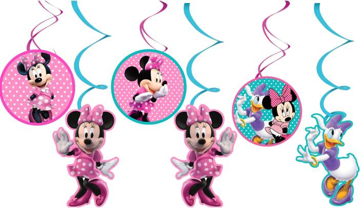 PARTY PROPZ Multicolor MINNIE MOUSE BIRTHDAY DECORATION SWIRL HANGING SET OF 12 PCS SUPPLIES