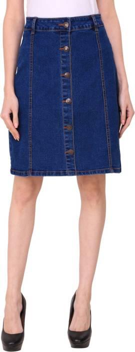 Crease & Clips Solid Women Wrap Around Dark Blue Skirt