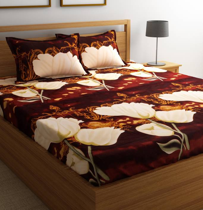 Flipkart SmartBuy 104 TC Microfiber Double 3D Printed Bedsheet (1 Bedsheet, 2 Pillow Covers, Multicolor)