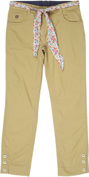 U S Polo Kids Slim Fit Girls Beige Trousers