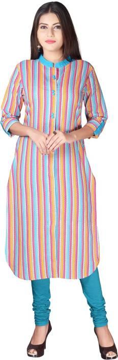 Mokshi Striped Women's Straight Kurta