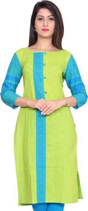 GMI Casual Printed Women Kurti  (Green)