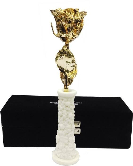 INTERNATIONAL GIFT INTERNATIONAL GIFT 24K Gold Dipped Natural Rose 15 Cm With Beautiful Black Velvet Box - Best Gift For Loves Ones, Valentine's Day, Anniversary Gift, Birthday Gift Showpiece Gift Set