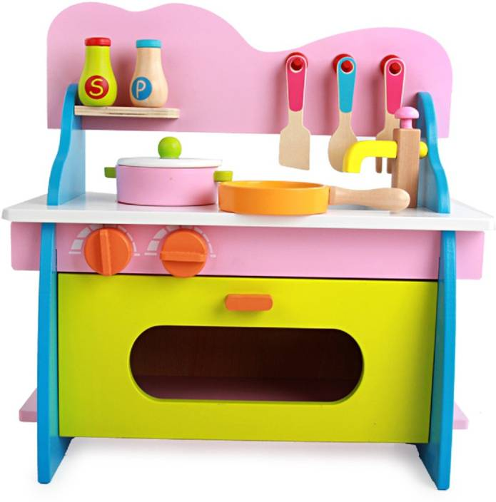 Emob Kids Pretend Play Big Size Chef Colourful Wooden Kitchen
