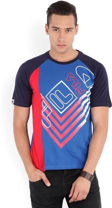 Fila Printed Men's Round Neck Blue T-Shirt