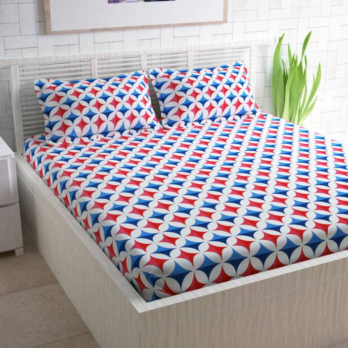 CURL UP 104 TC Cotton Double Printed Bedsheet