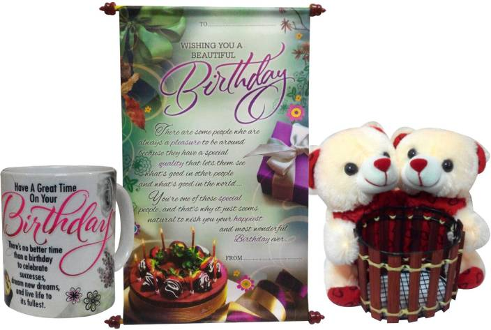 6ef13ee714a5 Saugat Traders Birthday Gift Combo - Couple Pen Stand Teddy With Birthday  Scroll Card   Coffee Mug (Set of 3)