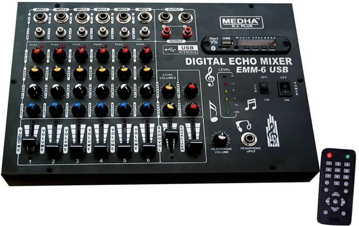Medha PROFESSIONAL 6 CHANNEL STERO ECHO MIXER WITH DIGITAL MEDIA PLAYER , BLUETOOTH 220 W AV Power Amplifier