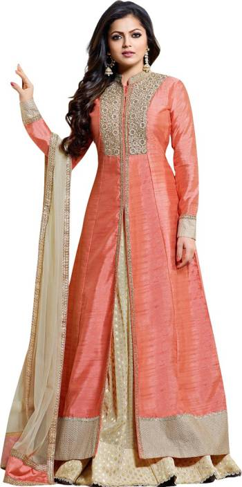 Fabron Art Silk Embroidered Semi-stitched Salwar Suit Dupatta Material