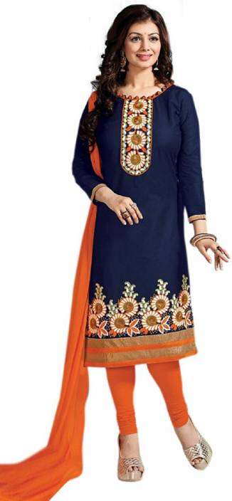 Rj Febric Cotton Embroidered Semi-stitched Salwar Suit Dupatta Material