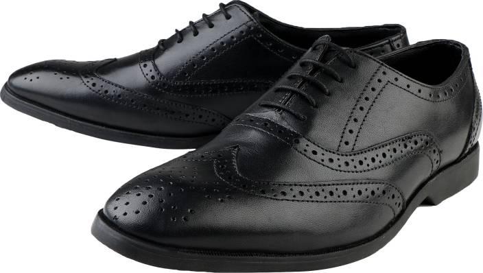 2cf9b84ba3b Kanprom Pure Leather Black Formal Shoes For Men Lace Up For Men (Black)