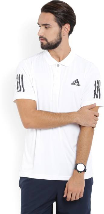ADIDAS Solid Men's Polo Neck Black, White T-Shirt