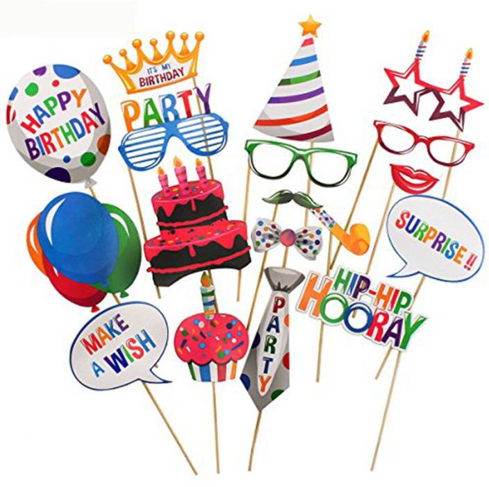 PARTY PROPZ HAPPY BIRTHDAY DECORATION PHOTOBOOTH SET OF 18 SUPPLIES Photo Booth Board Birthday Party Bachelorette