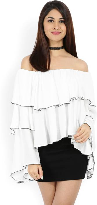 Forever 21 Casual Bell Sleeve Solid Women White Top