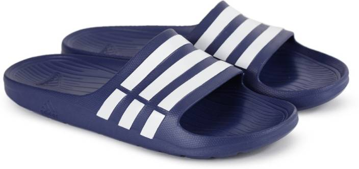 new arrival 680fa 0bde3 ADIDAS DURAMO SLIDE Slippers - Buy TRUBLUWHTTRUBLU Color ADIDAS DURAMO  SLIDE Slippers Online at Best Price - Shop Online for Footwears in India ...