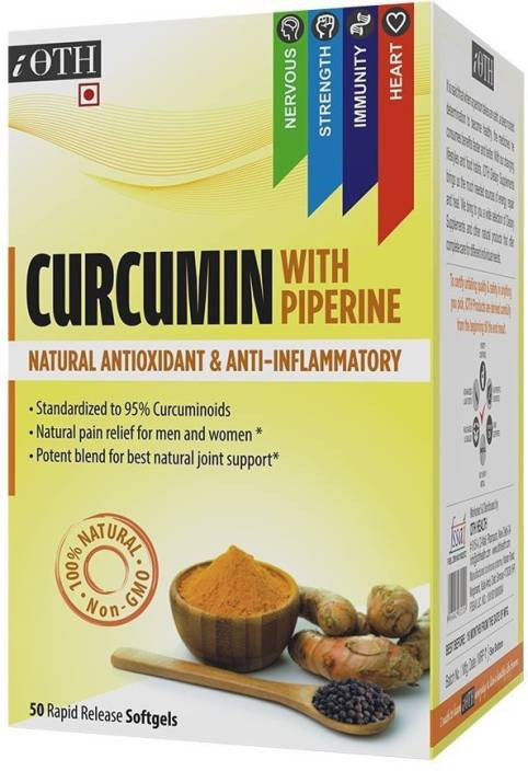 iOTH CURCUMIN WITH PIPERINE - High potency liquid Turmeric softgels enhanced with Piperine - Better absorption and bioavailability- Turmeric Curcumin with 95% standardized curcuminoids - 50 rapid release Softgels