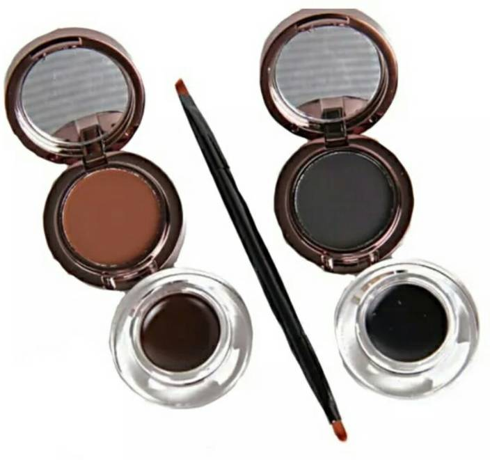 Menow Black And Brown Eyebrow Powder And Eyeliner Gel With Brush