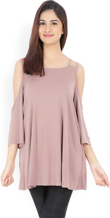 Forever 21 Casual 3/4th Sleeve Solid Women Brown Top