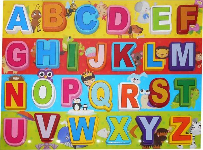 montez abc learning alphabetical colorful wooden letter blocks toy with wooden tray for kids