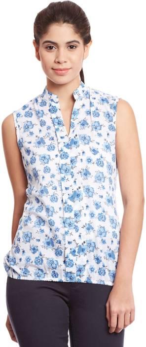 The Vanca Casual Sleeveless Printed Women's Blue Top