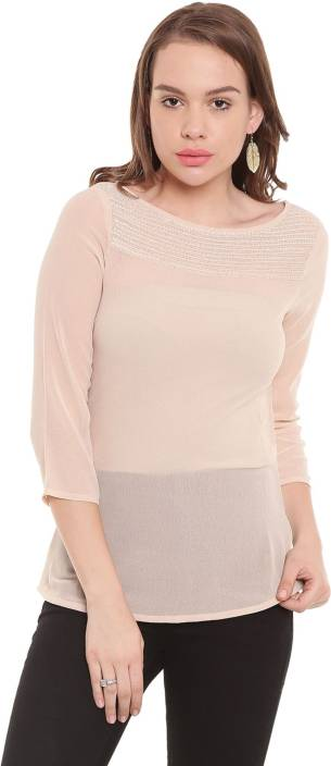 The Vanca Casual 3/4th Sleeve Solid Women's Pink Top