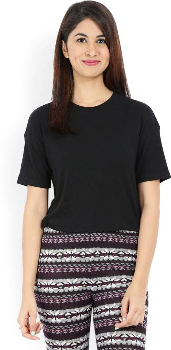 Forever 21 Casual Half Sleeve Solid Women Black Top