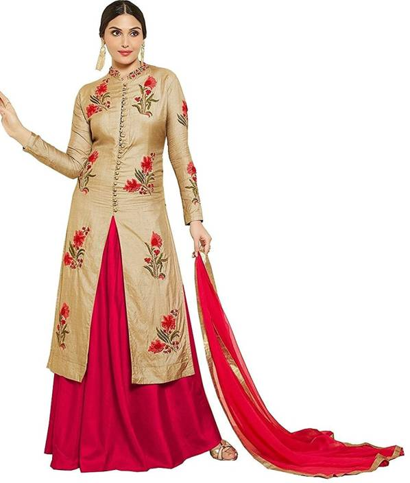 Nebula Trendz Cotton Embroidered Semi-stitched Salwar Suit Dupatta Material