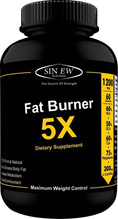 Sinew Nutrition Natural Fat Burner 5X (Green Tea, L-Carnitine, Conjugated  Linoleic Acid, Green Coffee & Garcinia Cambogia Extract) -60 Veg Caps