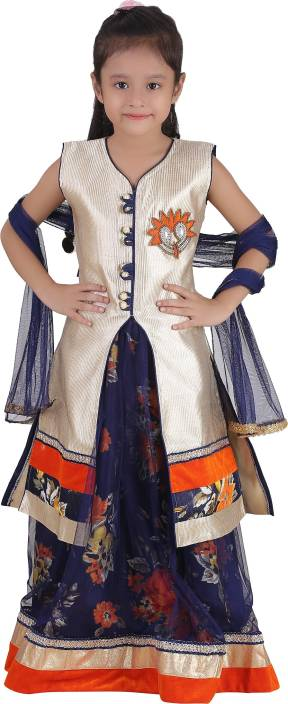 Crazeis Girl's Lehenga Choli Western Wear Embroidered Lehenga Choli