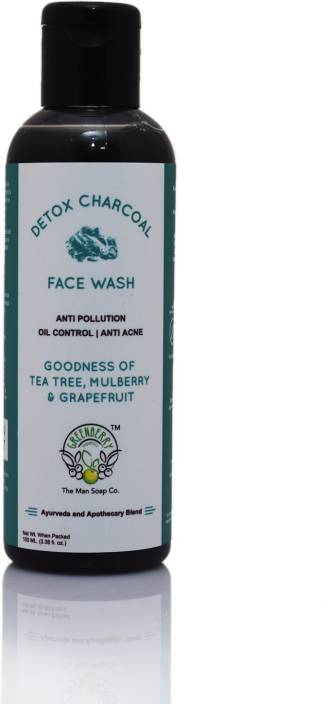 GreenBerry Organics DETOX CHARCOAL Face Wash with Tea Tree, Mulberry & Grapefruit Extract- Face Wash
