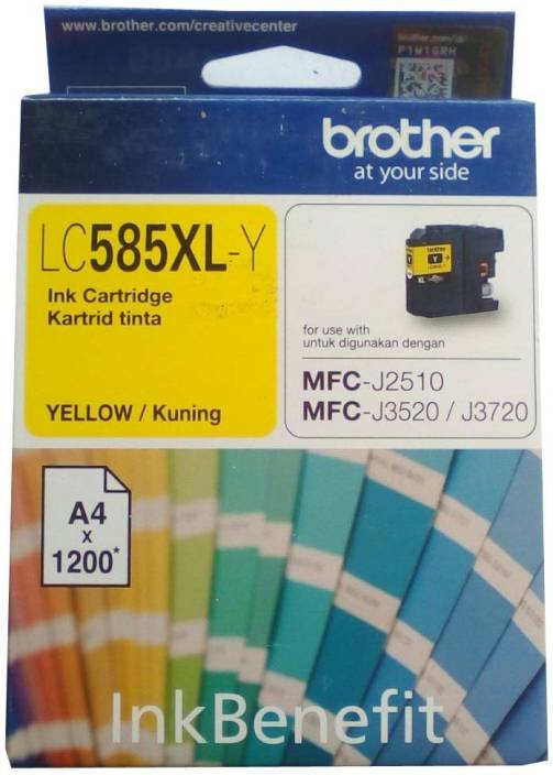 Brother LC585 XL- Y Yellow Original Cartridge Box Pack For Brother MFC-J2510 MFC-J3520 & MFC-J3720 Printers Single Color Ink Cartridge (Yellow)