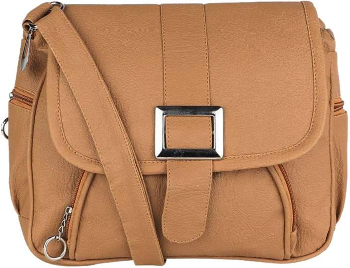 Yours Luggage Women Tan PU Sling Bag TAN - Price in India ...