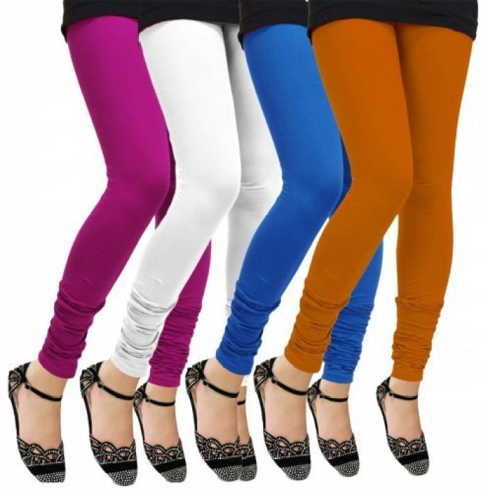 0833a4b276 Klugger New Stylish Cotton Lycra Churidar Leggings pack of 4 (Free Size) Churidar  Legging (Multicolor, Solid)