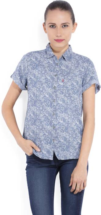 Levi's Women's Printed Casual Blue Shirt