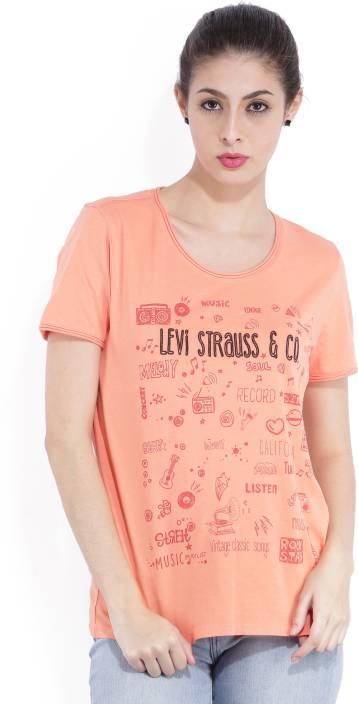 Levi's Printed Women's Round Neck Orange T-Shirt