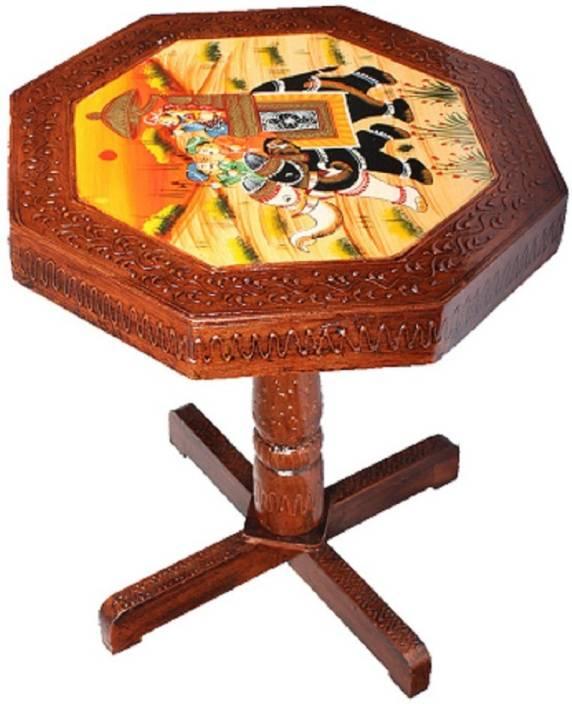 Apkamart Handicraft Wooden End Table Cum Stool For Home Decoration