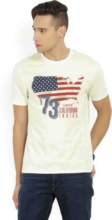 Levi's Printed Men's Round Neck White T-Shirt