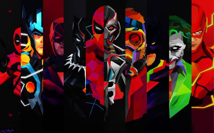 Comics Superhero Thor Joker Black Panther Ultron Poster HD WALLPAPER ON 24X36 Photographic Paper (36 inch X 24 inch, Rolled)