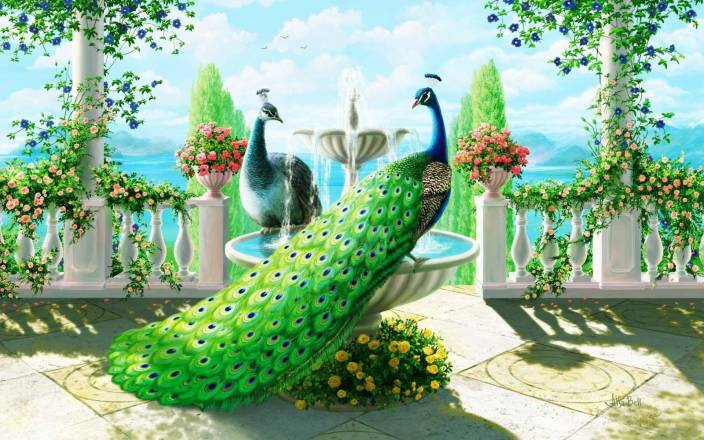 Digital Painting Wall Hd Wallpaper Art Paper Peacock Bird Painting Fine Art Print
