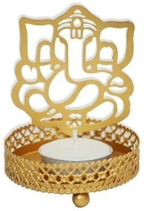 Hashcart Shadow Black Laxmi Ganesh Tealight Candle Holder//Table Decorative Candle Holder