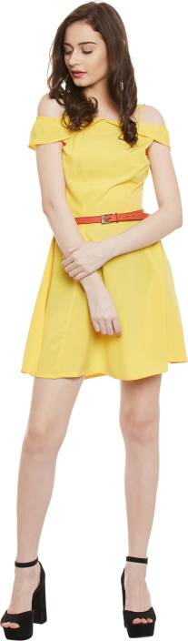 Popnetic Women's Fit and Flare Yellow Dress