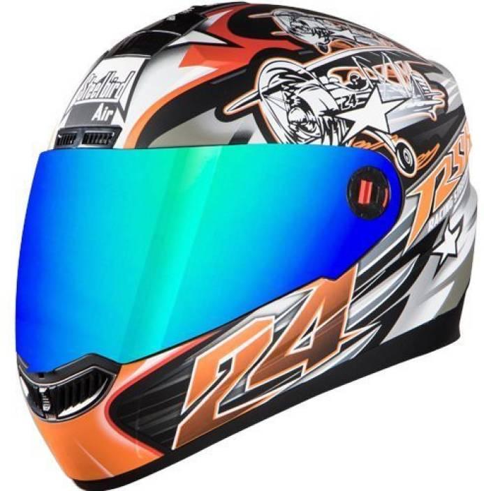 14270b1a Steelbird Bargy Italian Design Graphics Dull Black Orange with Rainbow Visor  Motorsports Helmet (Multicolor)