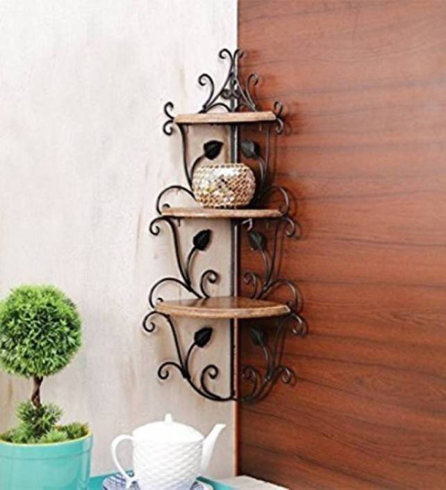 Decorasia Wooden Wrought Iron Corner Rack Wooden Iron Wall Shelf