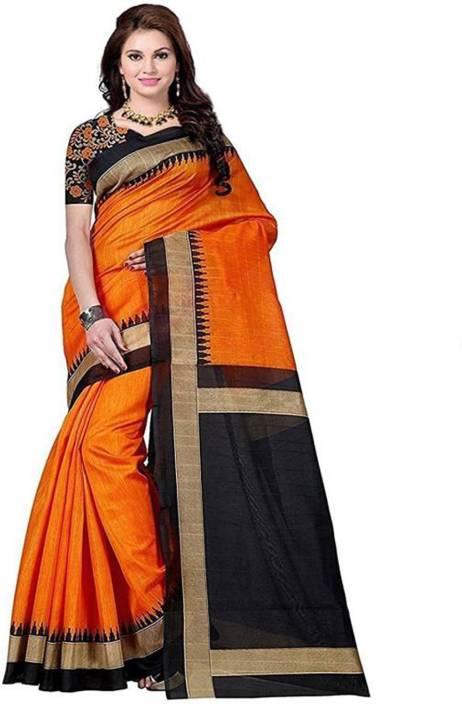 32adfbc9f1 Buy Mohini Fab Woven, Temple Border Bhagalpuri Art Silk Multicolor ...