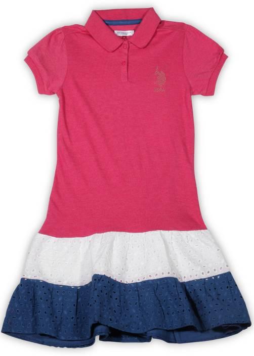 US Polo Kids Girls Midi/Knee Length Casual Dress