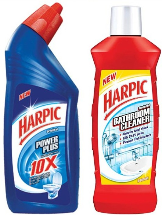 Harpic 500 Ml Lemon Bathroom Cleaner U0026 500 Ml Power Plus Liquid Toilet  Cleaner Regular