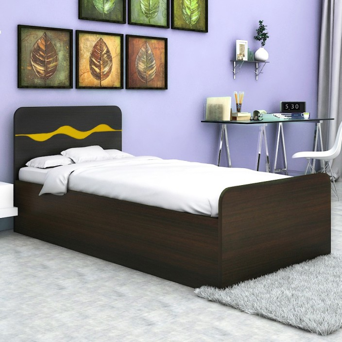 Single Bed With Storage Part - 20: HomeTown Swirl Single Engineered Wood Single Bed With Storage