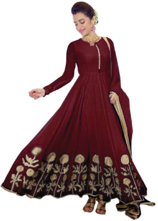 Julee Georgette Embroidered Semi-stitched Salwar Suit Dupatta Material