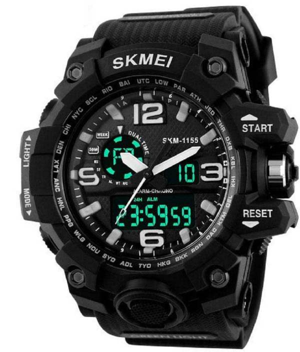 Skmei Black Dial Digital Analog Mens Watch Watch - For Men